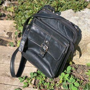 Vintage black leather crossbody bag messenger